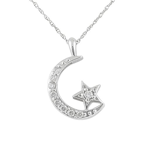 JewelExclusive 10K White Gold 1/10 cttw Natural Round-Cut Diamond (I-J Color, I2-I3 Clarity) Moon and Star Pendant 18