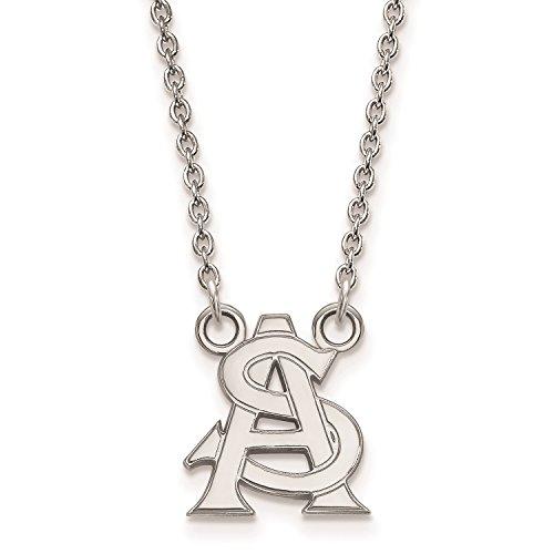 Arizona State University Pendant Necklace (10k White Gold, Small) ()