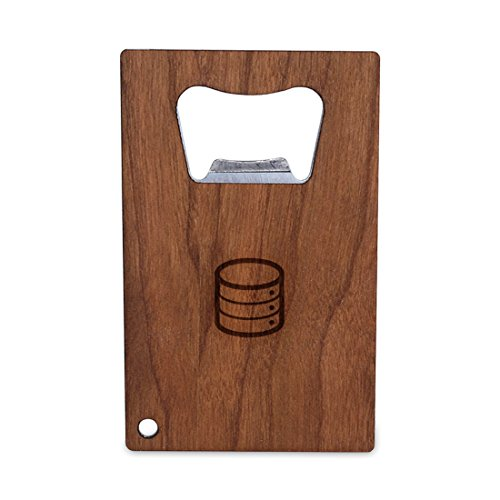 Database Bottle Opener With Wood, Stainless Steel Credit Card Size, Bottle Opener For Your Wallet, Credit Card Size Bottle Opener