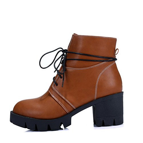 Round top Kitten Brown Heels Toe Lace Solid Boots up Low Closed Women's AgooLar qRnFZYCF