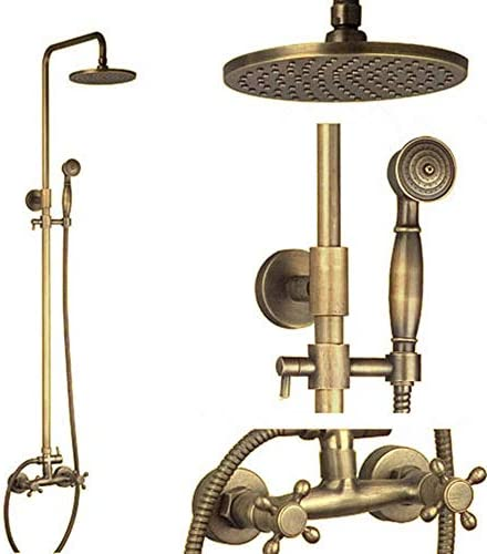 レインシャワーセット、アンティークレトロシャワー水栓、シャワーヘッド、ハンドシャワー、シャワーポール、アンティーク真鍮シャワー蛇口レインシャワー,真鍮