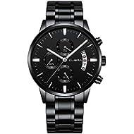 CUENA Men Stainless Steel Quartz Watches Military Waterproof Sport Classic Business Wristwatch...