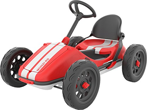 Chillafish Monzi RS Kids Foldable Pedal Go-Kart, with Airless RuberSkin Tires, Red