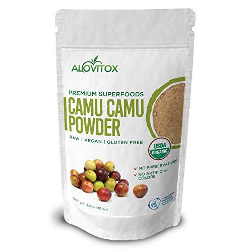 Organic Camu Camu Berry Superfood Powder - Vitamin C, Antioxidants, Non-GMO - Certified Organic, Raw, Vegan, Gluten Free, Paleo - 3.5oz by Alovitox