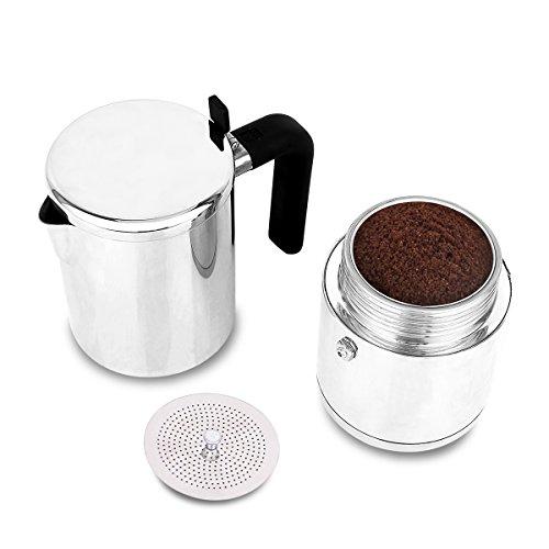 Stovetop Espresso Maker Stainless Steel 4 Cup XIHAO Silver Italian Moka Coffee Pot