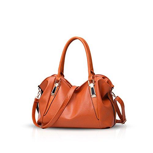NICOLE&DORIS Bolso de nuevas señoras de bolso clásico de la manera ocasional suave del bolso de hombro portátil de la mujer bolsas de mensajero del bolso de las mujeres(Black) marrón