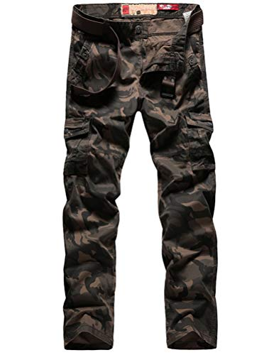 Lavnis Men's Casual Cargo Pants Military Army Camo Combat Camouflage Work Pants Brown 29
