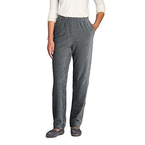 Lands' End Women's Petite Sport Knit Corduroy Elastic Waist Pants High Rise, M, Light Coal Heather -