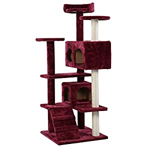 """Red Wine Pet Cat Tree Tower 50"""" Scratch Post Condo Kitty Furniture With Ebook well-wreapped"""