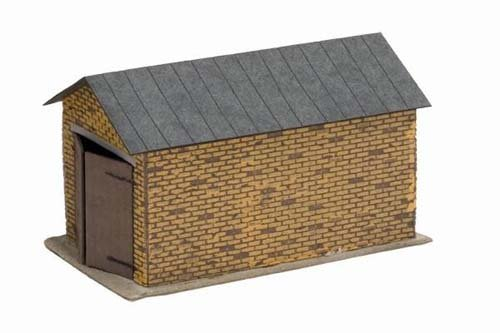 Roof Laser Cut (HO Scale 1-Car Brick Garage w/Pitched Roof - Kit (Laser-Cut Card) -- 2-3/4 x 1-9/16 x 1-1/2