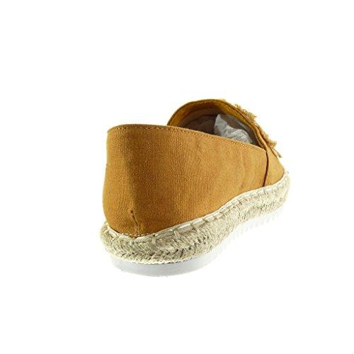Chaussure Mocassin Slip 5 on Basket Fantaisie Mode Cm Semelle Corde Angkorly Camel Brodé Femme Talon Espadrille Plat 2 RfSxdndq