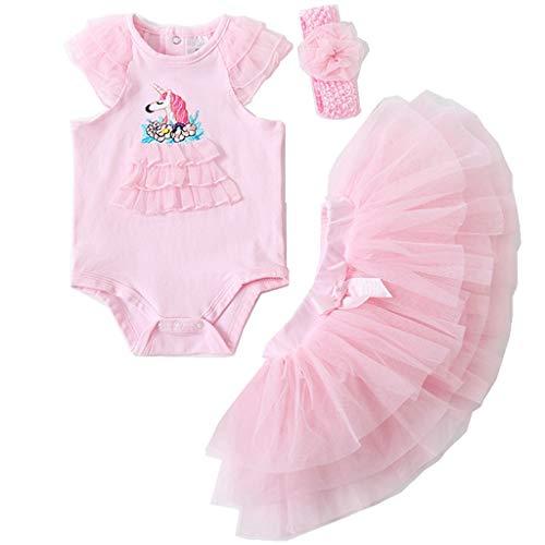 3 stks Baby Meisjes Bodysuit + Tutu Rok + Hoofdband Kleding Set, Peuter Kids Korte mouw Jurk Pak Pasgeboren Gift 9-12…