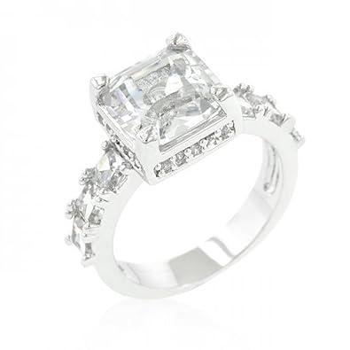 Amazon Com J Goodin Asscher Cut Engagement Ring Size 9 Jewelry