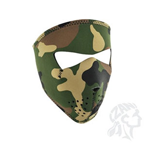 ZAN headgear Woodland Camo Neoprene Face Mask, One Size Fits Most