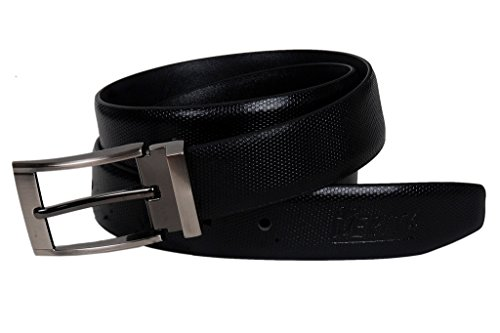 Nerita Men's Formal Italian Genuine Leather Belt with pin Buckle in 35 mm width Black