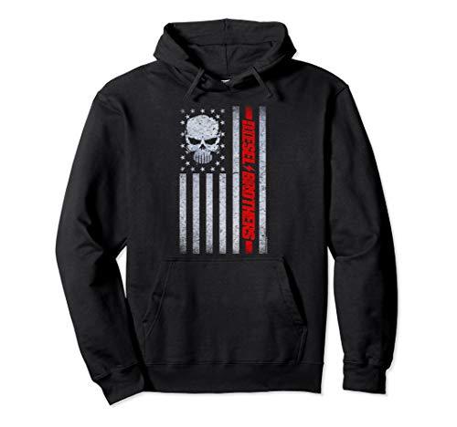 Diesel Brothers Grungy American Flag Skull Graphic Hoodie