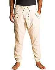 PANASIAM Yogi Pants Classic voor dames en heren, comfortabele vrijetijdsbroek in Aladin-harem-stijl, 100% katoen, optimale pasvorm dankzij trekkoord aan de voorkant en elastische tailleband aan de achterkant, zomerbroek