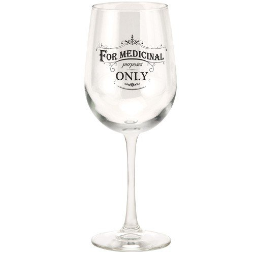 JKC Studios Long Stem Wine Glass, For Medicinal Purposes Only
