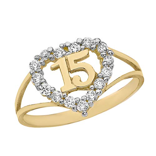 Solid 14k Yellow Gold Sweet 15 Anos CZ Quinceanera Heart Ring (Size 7) ()