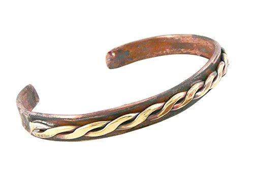 Modern Artisans Rustic Unisex Copper Cuff Bracelet - Celtic Braid, Large Size (adjustable 7.75