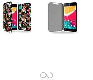 Tête de mort skull Floral Collection Pattern Funda de Cuero para Wiko Rainbow Jam 4G Flip Case Cover (Estuche) - FUNDA SOPORTE / PU Cuero - Accesorios Case Industry Smart Magnet