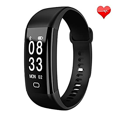 Fitness Tracker Smart Bracelet Waterproof Bluetooth Heart Rate Blood Pressure Monitor Smart Wristband Fitness Watch Activity Tracker Wireless Pedometer Sport Sleep Monitor for Smartphone