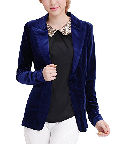 (MFrannie One Button Velvet Blazer Notched Lapels Stretchy Office Work Jacket Navy Blue)