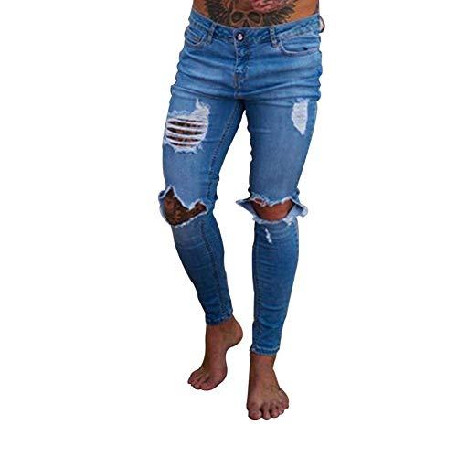 Jeans Skinny Uomo Hellblau Con Destrutturati Denim Da Casual Vestibilità Stretch Pantaloni Strappati Fit Slim r1Hrg