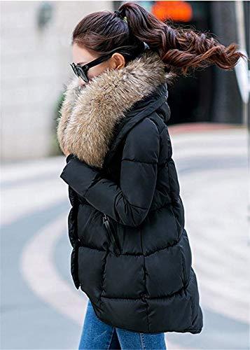 Piumini Piumino Shuanghao Donna Calda Cappotti Di Da Cappotto Pelliccia Giacca Cappuccio Nero Con gUfOOnx56