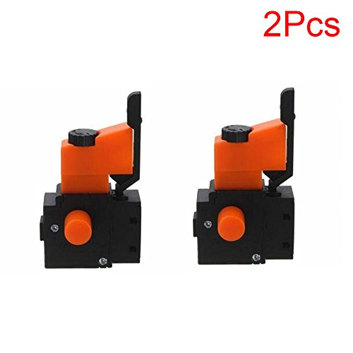 LDEXIN FA2-6/1BEK Black Lock on Power Tool Replacement Parts Push Button Tool Electric Hand Drill Speed Control Trigger Switch 2pcs AC 250V 6A 5E4 Orange