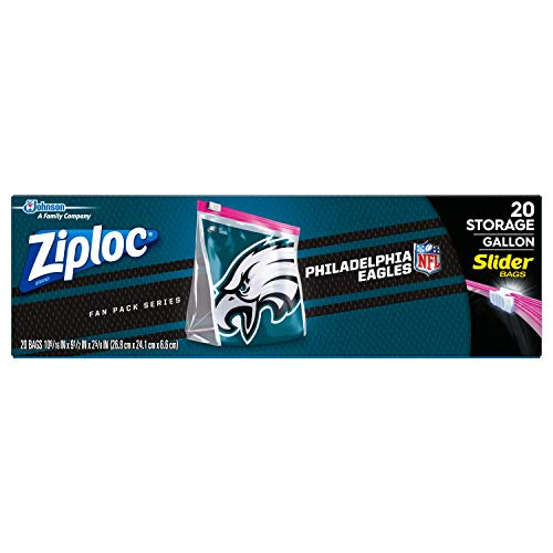 Ziploc Brand NFL Philadelphia Eagles Slider Gallon, 20 ct