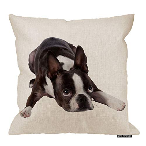 - HGOD DESIGNS Cotton Linen Cute Funny Various Pet Dogs Human Friends Boston Terrier Throw Pillow Covers Cushion Cover Decorative Sofa Bedroom Living Room Square 18 Inches