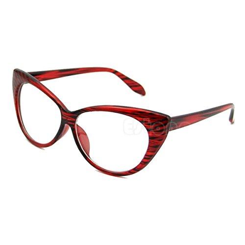 NEW MODEL 2018!!! Generic Retro Sexy Women Eyeglasses Frame Fashion Cat Eye Clear Lens ladies Eye Glasses (Red)