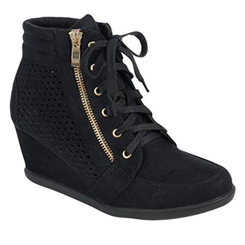 Women High Top Wedge Heel Sneakers Platform Lace Up Shoes Ankle Bootie  Size 7  Black Lasercut  P70EGGR7K