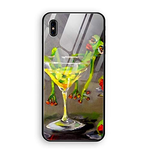 Drunk Frog iPhone X Case Luxury Tempered Glass Back Cover Soft TPU Bumper Shell iPhone X