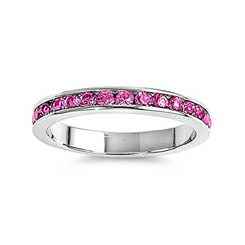 Glitzs Jewels Sterling Silver Simulated Pink Diamond Eternity Thin Band Channel Set 3mm Ring, 3mm Choose Your Color ()