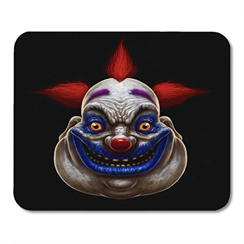 Emvency Mouse Pads Red Horror Evil Scary Smiling Fat Clown Halloween Circus Character on Mask Creepy Mousepad 9.5