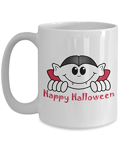 Happy Halloween Vampire Bat Spooky Eyes Trick or Treat White Ceramic Coffee Cup Mug]()