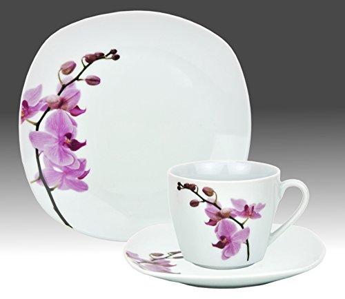 Kaffeeservice 18-tlg. Kyoto Orchidee leicht eckig Porzellan für 6 Personen weiß mit Dekor