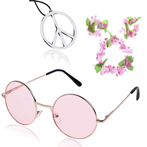 (Hippie Costume Accessory Peace Sign Necklace and Hippie Glasses, Flower Crown Hair Wreath Headband and Wrist Hand Flower (Pink) )