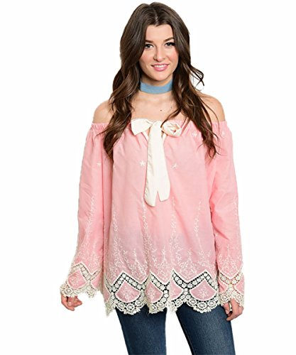 Vina Vino Women's Cotton Long Sleeve Off Shoulder Pink and Cream Crochet Detailed Top with Front Bow