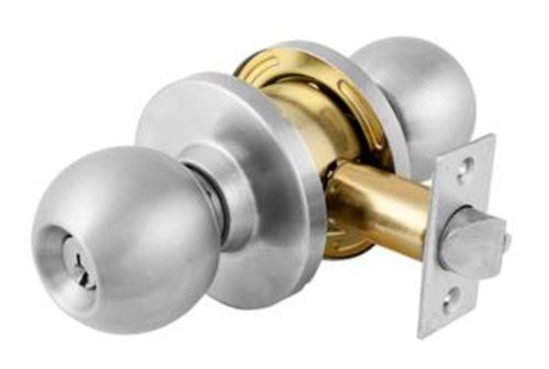 (Master Lock BLC0132DKA4 Commercial Cylindrical Keyed Entry Ball Knob Lockset, Satin Chrome)