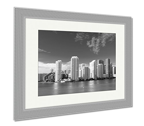 Ashley Framed Prints Miami Seascape With Skyscrapers In Bayside, Wall Art Home Decoration, Black/White, 34x40 (frame size), Silver Frame, - Beach Miami Bayside