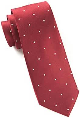 The Tie Bar 100% Woven Silk Burgundy and White Satin Dot Skinny Tie