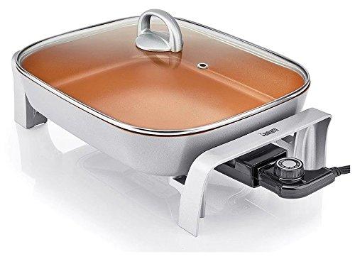 Bialetti Copper Titanium Ceramic 5.5 QT Capacity Electric Non Stick Skillet 1500W Silver Frame 12x15 Size