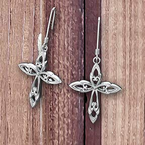 Logos Trading Post Jewelry - Leaf Cross | Sterling Silver Earrings | Symbol of Faith
