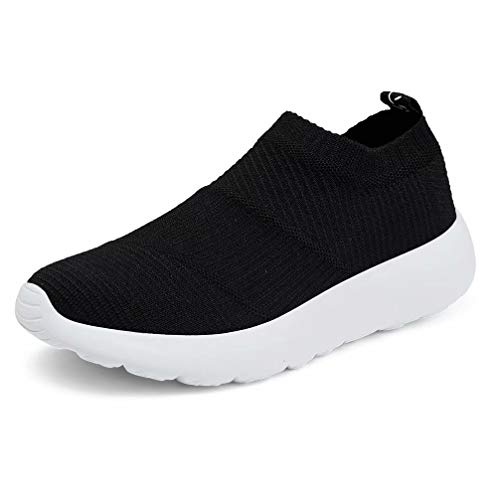konhill Women's Athletic Walking Shoes - Comfortable Casual Work Gym Slip On Sneakers 6.5 US Black, 37