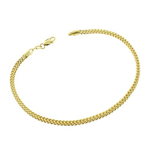 14k Yellow Gold 2mm Hollow Franco Link Bracelet Chain 7.5'' by In Style Designz