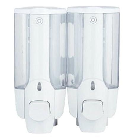 SODIAL Dispensador de locion de jabon de ducha doble de pared de bano blanco 2x350ML: Amazon.es: Hogar
