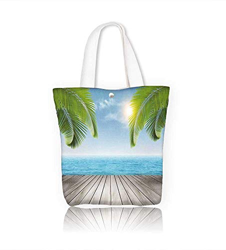 Canvas Tote Bag Vacation Hanbag Women Shoulder Bag Fashion Tote Ba W14xH15.7xD4.7 INCH